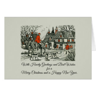 Vintage Victorian Jolly Christmas Equestrian Card