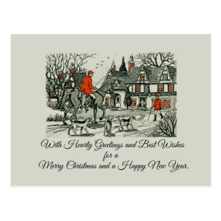 Vintage Victorian Jolly Christmas Equestrian Postcard