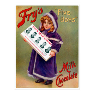 Vintage Victorian Kitsch Fry's Milk Chocolate Girl Postcard