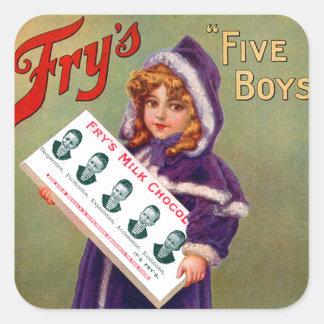 Vintage Victorian Kitsch Fry's Milk Chocolate Girl Square Sticker