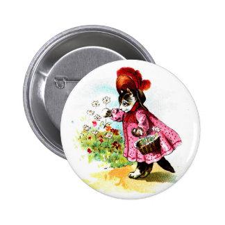 Vintage Victorian Kitty Lady Button