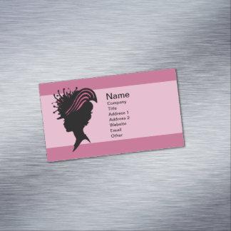 Vintage Victorian Lady Black Silhouette Fancy Hat Business Card Magnet