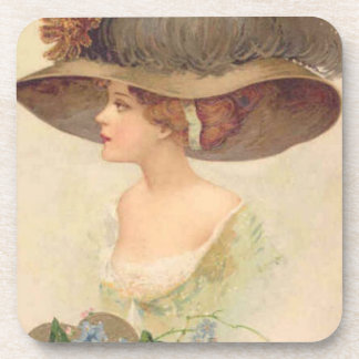Vintage Victorian Lady Cork Coaster