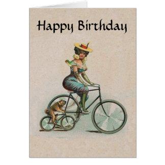 Vintage Victorian Lady Dog Bicycle Birthday Card