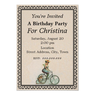Vintage Victorian Lady Dog Bicycle Birthday 4.5x6.25 Paper Invitation Card