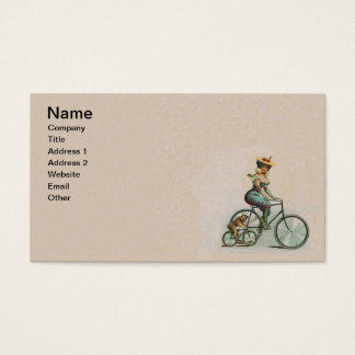 Vintage Victorian Lady Dog Bicycle Business Card