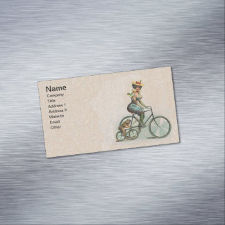 Vintage Victorian Lady Dog Bicycle Business Card Magnet