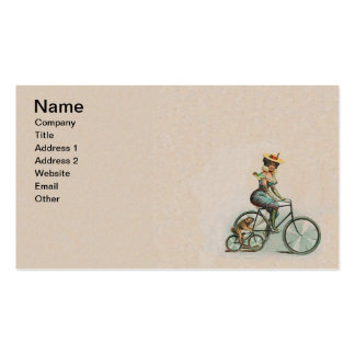 Vintage Victorian Lady Dog Bicycle Double-Sided Standard Business Cards (Pack Of 100)
