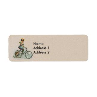 Vintage Victorian Lady Dog Bicycle Return Address Label