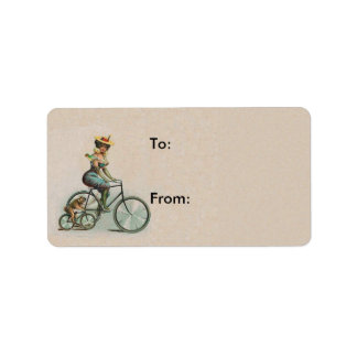 Vintage Victorian Lady Dog Bicycle Address Label