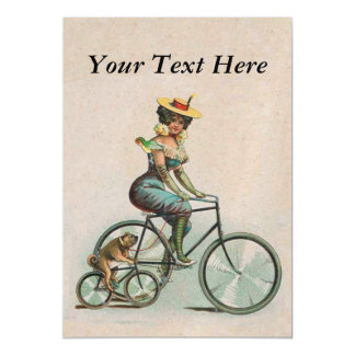Vintage Victorian Lady Dog Bicycle Magnetic Card