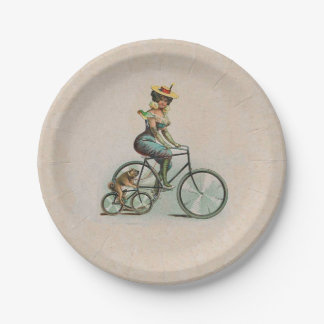 Vintage Victorian Lady Dog Bicycle Paper Plate