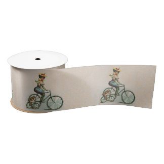 Vintage Victorian Lady Dog Bicycle Satin Ribbon