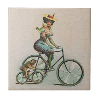 Vintage Victorian Lady Dog Bicycle Tile