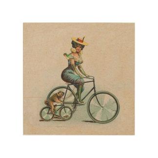 Vintage Victorian Lady Dog Bicycle Wood Print