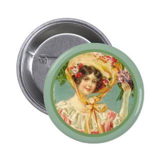 Vintage Victorian Lady Easter Bonnet Button