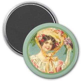 Vintage Victorian Lady Easter Bonnet Magnet