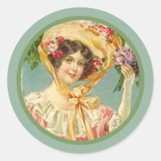 Vintage Victorian Lady Easter Bonnet Classic Round Sticker