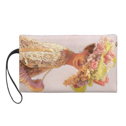 Vintage Victorian Lady Elegant Floral Art Wristlet