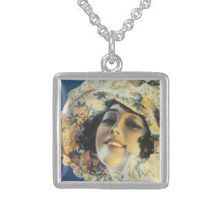 Vintage Victorian Lady Music Album Cover -Necklace