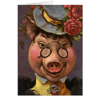 Vintage Victorian Lady Pig, Silly, Funny, Humorous Stationery Note Card