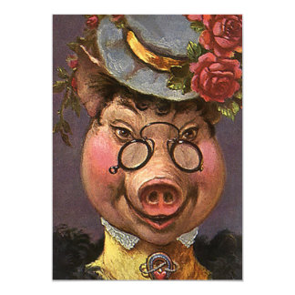 Vintage Victorian Lady Pig, Silly, Funny, Humorous 5x7 Paper Invitation Card