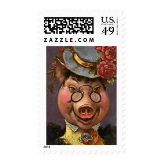 Vintage Victorian Lady Pig, Silly, Funny, Humorous Postage Stamps