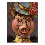 Vintage Victorian Lady Pig, Silly, Funny, Humorous Postcard