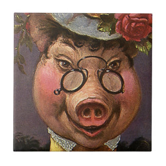 Vintage Victorian Lady Pig, Silly, Funny, Humorous Ceramic Tile