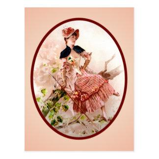 Vintage Victorian Lady Postcard