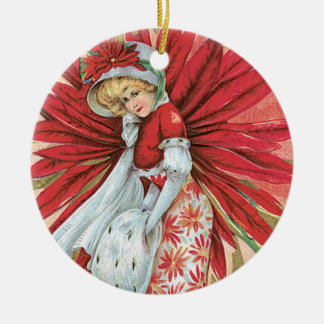 Vintage Victorian Lady Red Poinsettia Double-Sided Ceramic Round Christmas Ornament