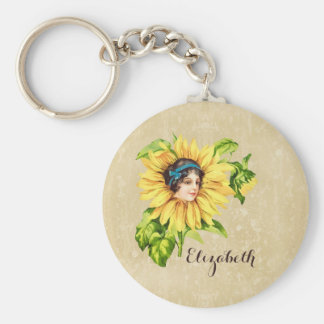 Vintage Victorian Lady Summer Sunflower With Name Keychain