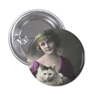 Vintage Victorian Lady with Cat Pinback Button