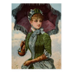 Vintage Victorian Lady With Parasol Postcard