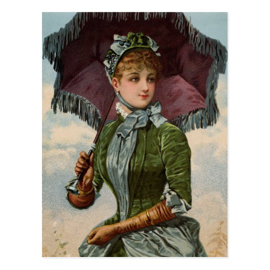 Vintage Victorian Lady With Parasol Postcard