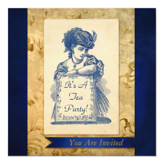 Vintage Victorian Lady with Sign Invitation Card