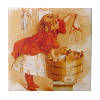 Vintage Victorian Laundry Day Girl Dolls Soap Ad Tile