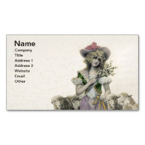 Vintage Victorian Little Bo Peep Sheep Fairy Tale Business Card Magnet