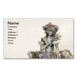 Vintage Victorian Little Bo Peep Sheep Fairy Tale Business Card Magnet