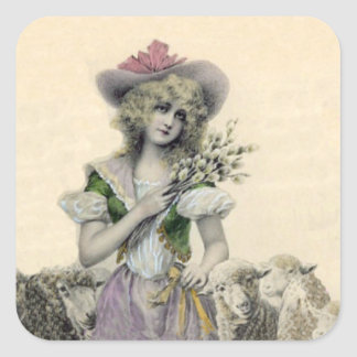 Vintage Victorian Little Bo Peep Sheep Fairy Tale Square Sticker