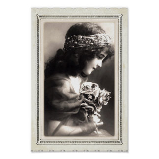 Vintage Victorian Little Girl Holding A Posy B/W Poster