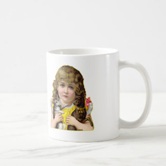 Vintage Victorian Little Girl with Cat & Dog Art Coffee Mug