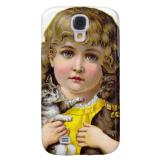 Vintage Victorian Little Girl with Cat & Dog Art Galaxy S4 Cover