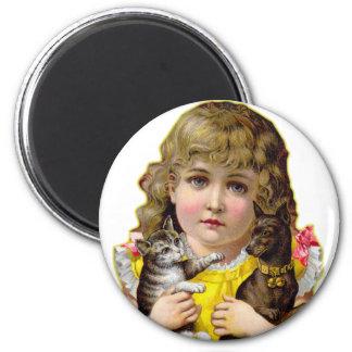 Vintage Victorian Little Girl with Cat & Dog Art Fridge Magnet