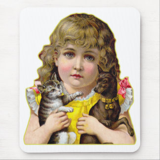 Vintage Victorian Little Girl with Cat & Dog Art Mouse Pad