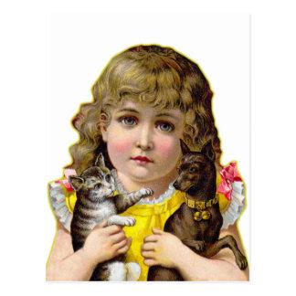 Vintage Victorian Little Girl with Cat & Dog Art Postcard