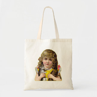 Vintage Victorian Little Girl with Cat & Dog Art Tote Bag