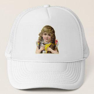 Vintage Victorian Little Girl with Cat & Dog Art Trucker Hat