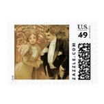 Vintage Victorian Love and Romance, Flirt by Mucha Postage Stamp