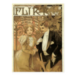 Vintage Victorian Love and Romance, Flirt by Mucha Post Card